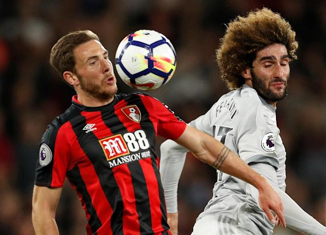 "Soccer Football - Premier League - AFC Bournemouth vs Manchester United - Vitality Stadium, Bournemouth, Britain - April 18, 2018 Bournemouth's Dan Gosling in action with Manchester United's Marouane Fellaini Action Images via Reuters/John Sibley EDITORIAL USE ONLY. No use with unauthorized audio, video, data, fixture lists, club/league logos or ""live"" services. Online in-match use limited to 75 images, no video emulation. No use in betting, games or single club/league/player publications. Please contact your account representative for further details."