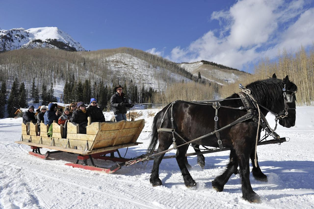 """<p>Enjoying a fine four-course dinner at Elk Mountain Range in the heart of Colorado's ski country sounds exciting enough. What if we told you the only way you could get to the restaurant is by a horse-drawn sleigh? <a href=""""https://pinecreekcookhouse.com/"""">The Pine Creek Cookhouse</a> is known for combining gourmet recipes with locally-sourced game (try the chef's selection of ten-ounce Rocky Mountain elk chop) and other ingredients.Even if you only stop by this charming log cabin for cocktails, you'll never forget how you traveled there in the first place.</p>"""
