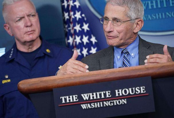 PHOTO: Director of the National Institute of Allergy and Infectious Diseases Anthony Fauci speaks as Admiral Brett Giroir listens during the daily briefing on the novel coronavirus, COVID-19, at the White House on April 6, 2020, in Washington. (Mandel Ngan/AFP via Getty Images)