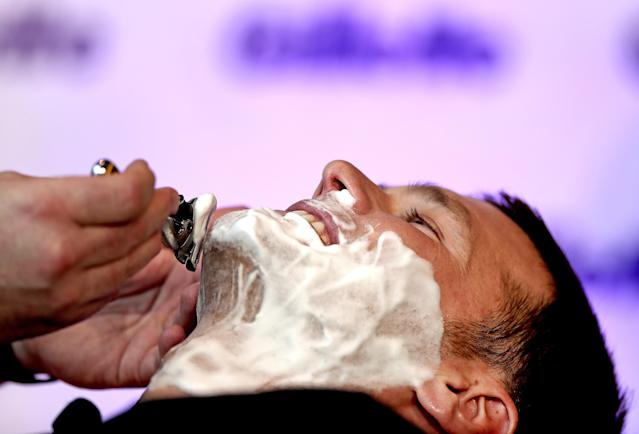 """Tom Brady's """"playoff beard"""" will be shaved at Gillette World Shaving HQ , a trim down and shave-off by master barber Adam Briere who works for Gillette. (David L Ryan/Globe Staff)"""