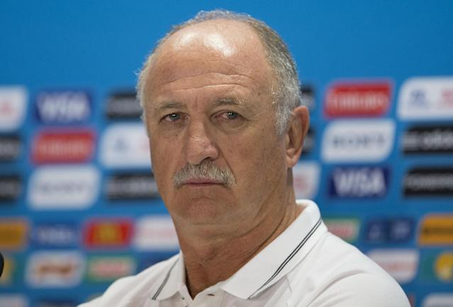 Brazil's coach Luiz Felipe Scolari attends a news conference the day before his team's round of 16 World Cup soccer match with Chile at the Mineirao Stadium in Belo Horizonte, Brazil, Friday, June 27, 2014. (AP Photo/Andre Penner)