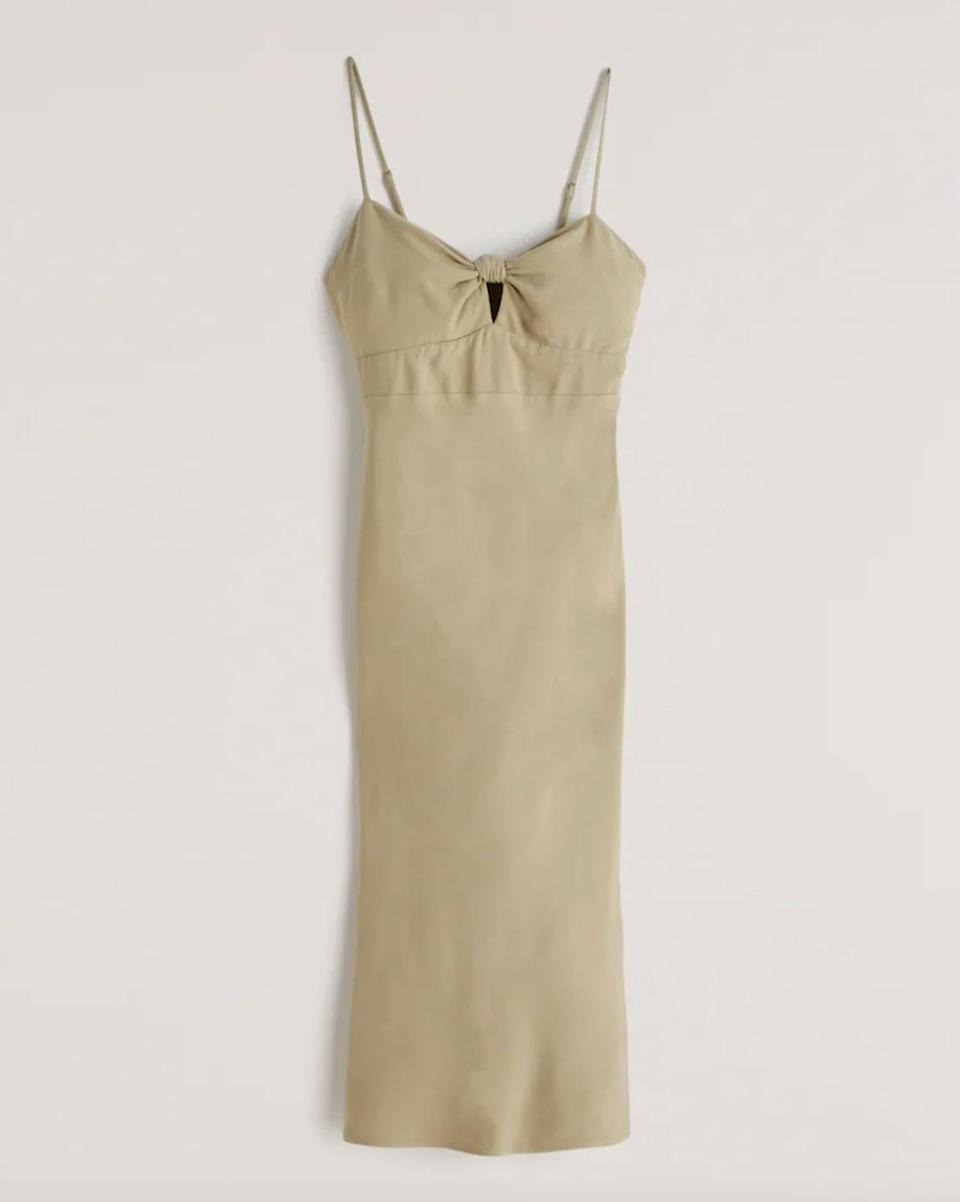 <p>Style this <span>Knot-Front Slip Midi Dress</span> ($89) with barely there heels for a casual-chic ensemble.</p>
