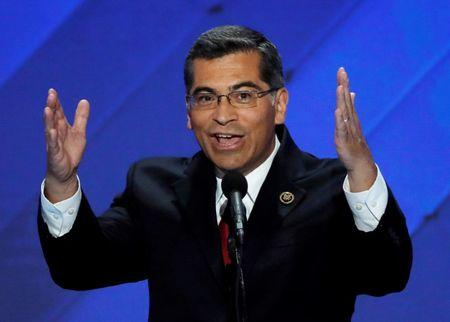 FILE PHOTO - U.S. Representative Xavier Becerra (D-CA) speaks on the final night of the Democratic National Convention in Philadelphia, Pennsylvania, U.S. in this July 28, 2016 file photo. REUTERS/Mike Segar/File Photo