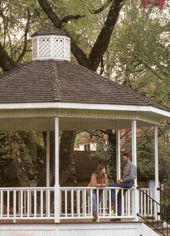 """<p>This classic octagonal gazebo offers a roomy retreat. The free plan includes a complete list of materials and step-by-step instructions and diagrams. </p><p><strong>Get the tutorial at <a href=""""https://www.motherearthnews.com/diy/build-a-gazebo-zmaz90jazshe#axzz2NWyhjvaN"""" rel=""""nofollow noopener"""" target=""""_blank"""" data-ylk=""""slk:Mother Earth News"""" class=""""link rapid-noclick-resp"""">Mother Earth News</a>. </strong></p>"""