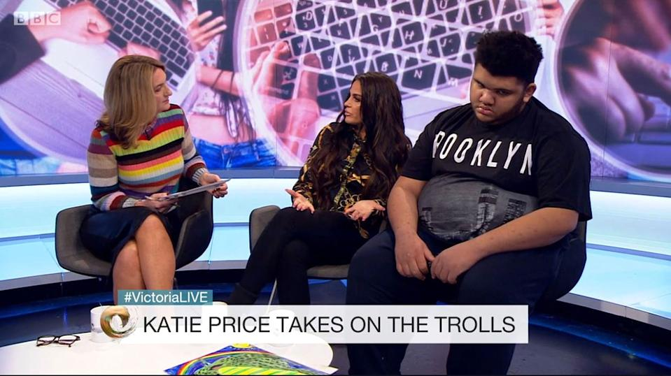 Price was on Victoria Derbyshire's show to talk about bullying. (BBC)