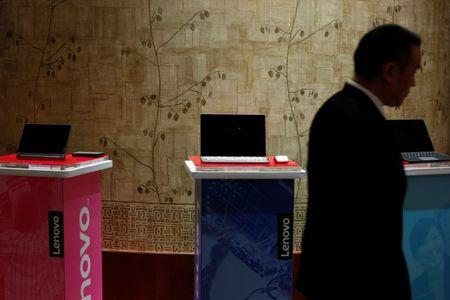 Products of Lenovo are displayed during a news conference on the company's annual results in Hong Kong May 26, 2016.   REUTERS/Bobby Yip