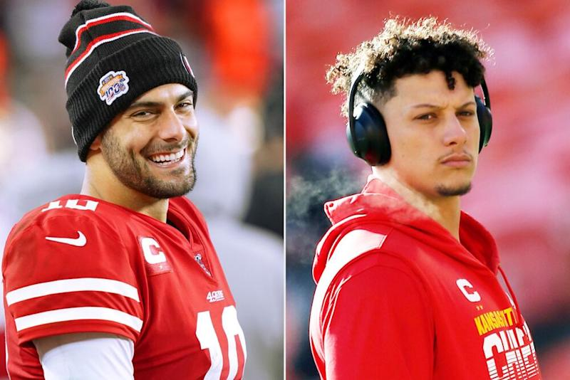 Jimmy Garoppolo of the San Francisco 49ers and Patrick Mahomes of the Kansas City Chiefs   Thearon W. Henderson/Getty Images; David Eulitt/Getty Images