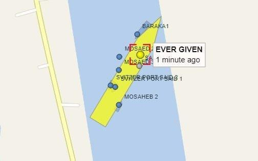 An image from the Vessel Finder site which shows several tug boats helping the Ever Given