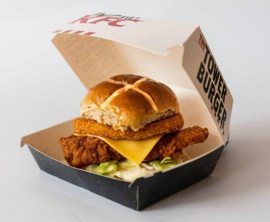 The fast food chain is currently trialling the new Easter-themed burger [Image: KFC]