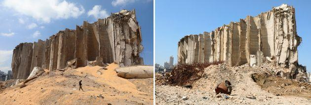 The grain silo just after the blast and then a year on (right). (Photo: MOHAMED AZAKIR via REUTERS)