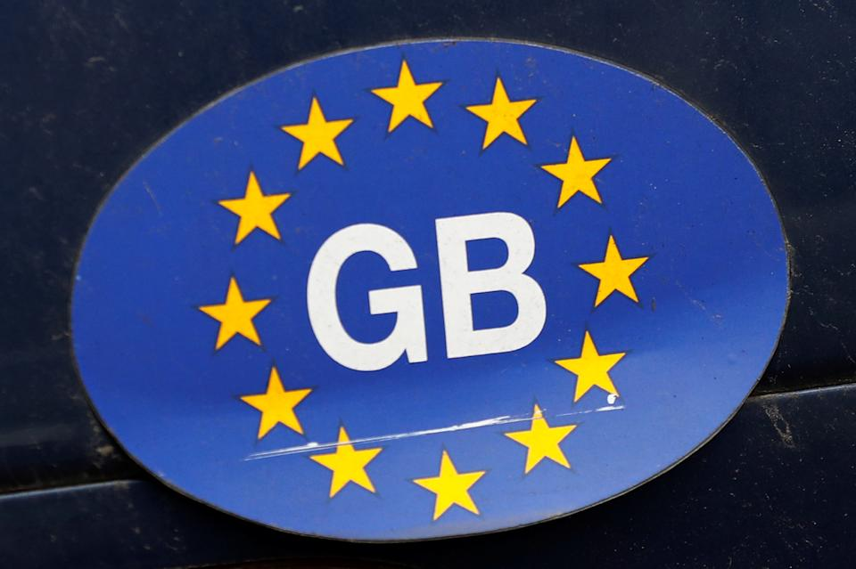 A sticker on a car is seen near the Houses of Parliament in London, Britain. Photo: Reuters