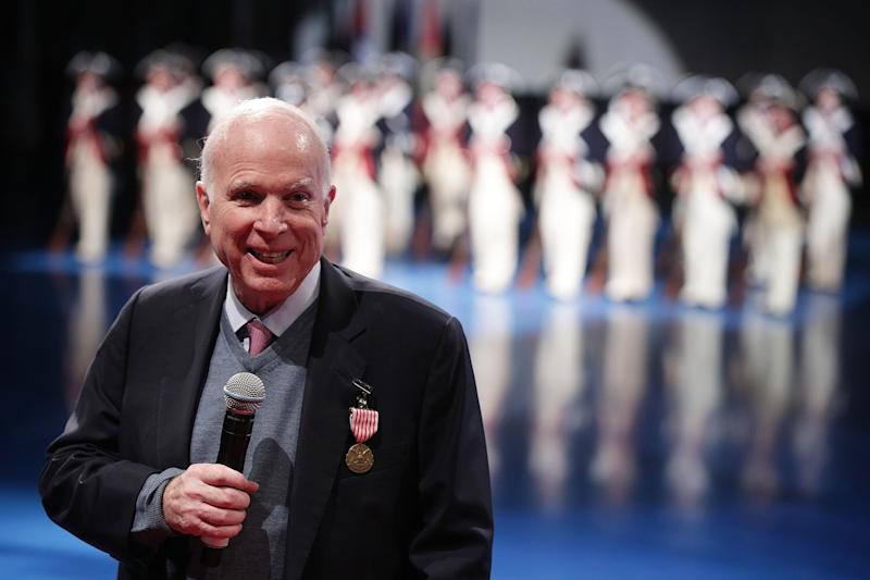 Sen. John McCain (R-Ariz.) speaking at an event in Arlington, Virginia, earlier this month.  (Alex Wong via Getty Images)