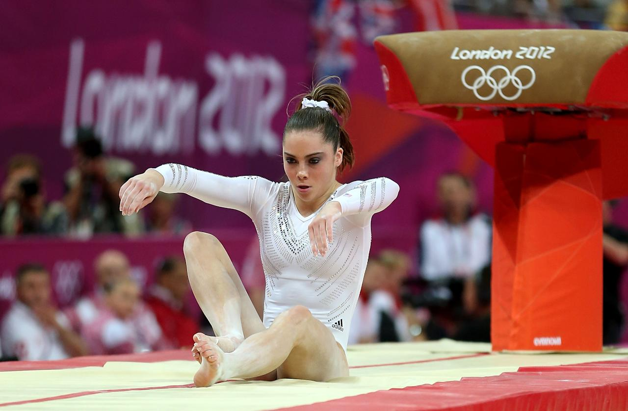McKayla Maroney of United States fails to land her dismount in the Artistic Gymnastics Women's Vault final on Day 9 of the London 2012 Olympic Games at North Greenwich Arena on August 5, 2012 in London, England.  (Photo by Quinn Rooney/Getty Images)