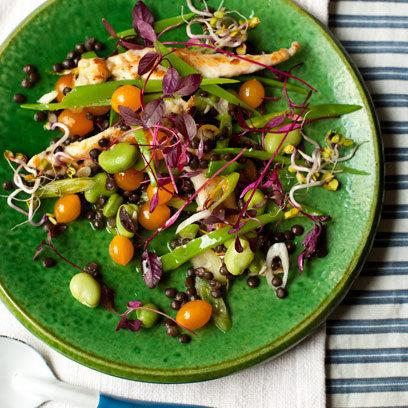 Hot Chicken Salad with Broad Beans Mangetout, Leaves & Lentils: Recipes