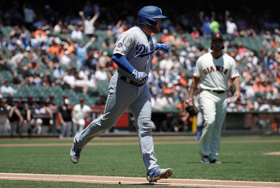 Madison Bumgarner, right, may have moved on, but Max Muncy remains a key figure for this weekend's Giants-Dodgers meeting.