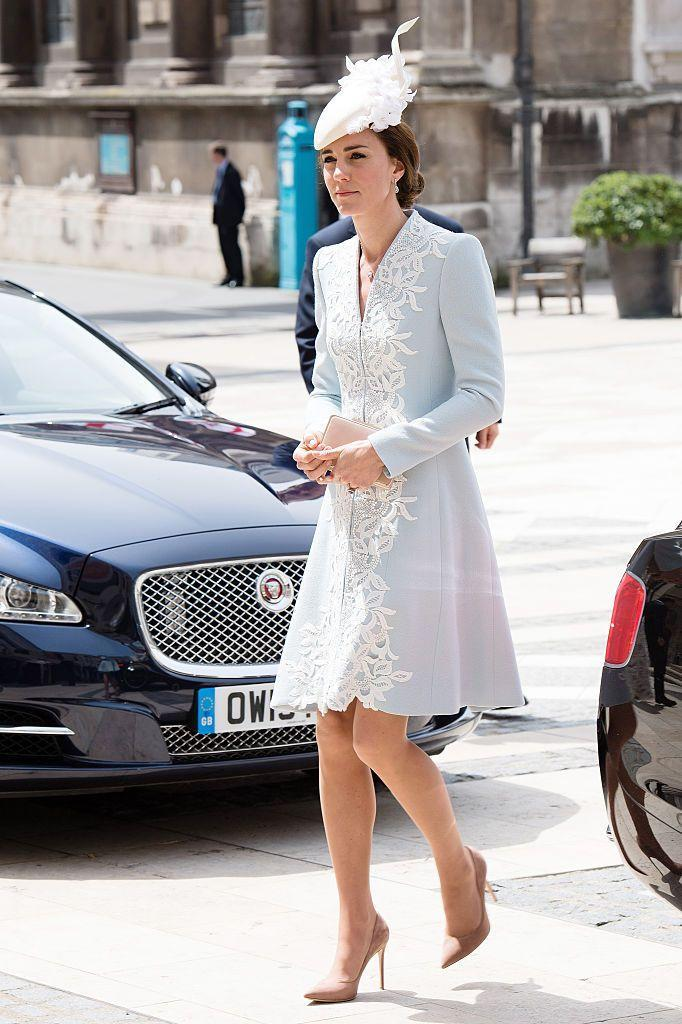 <p>The Duchess arrived at the Queen's 90th birthday celebration in a light blue custom Catherine Walker lace dress with a white hat.</p>