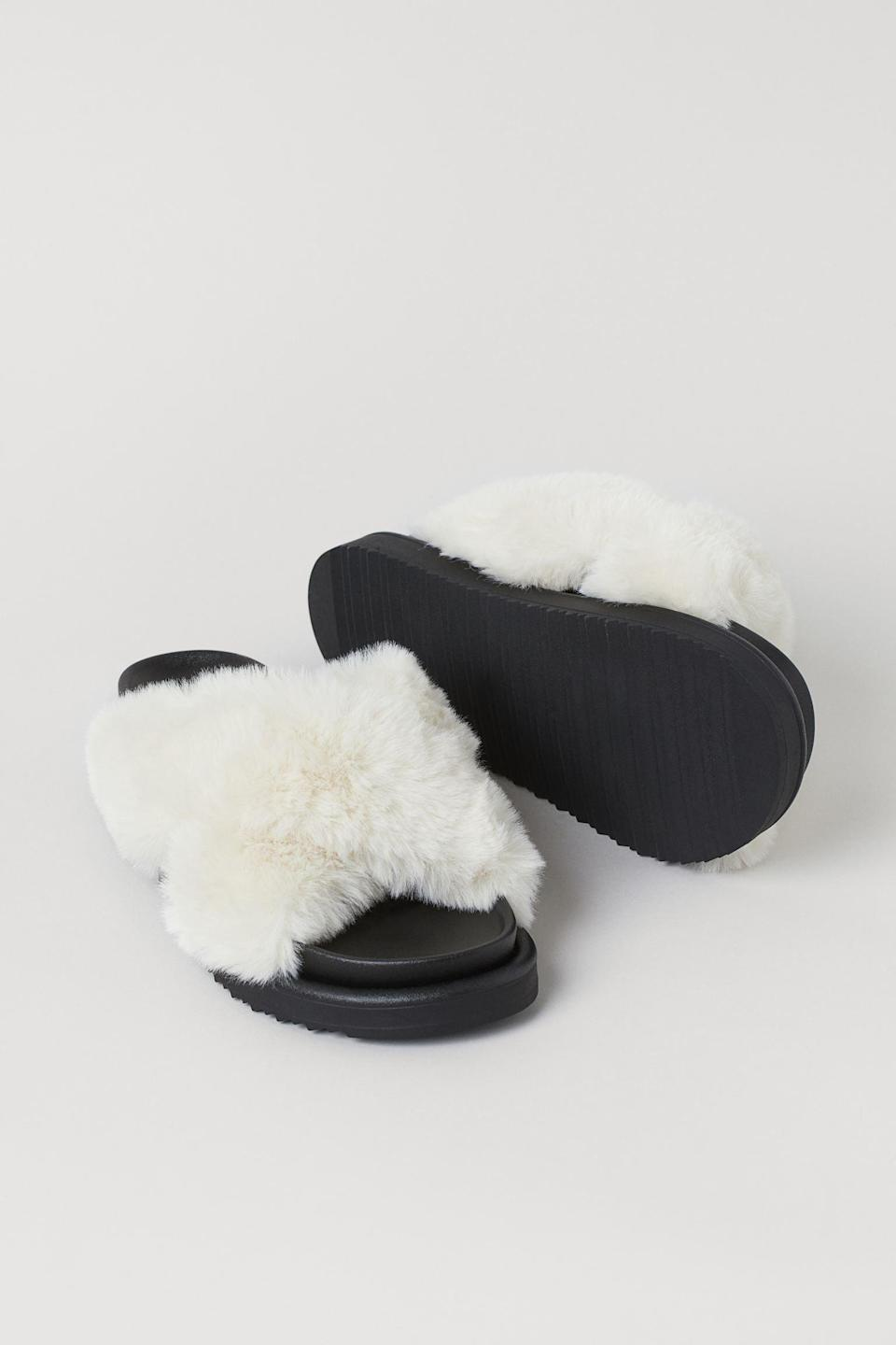 <p>If you need comfortable slippers with arch support, you'll appreciate the thicker soles of these <span>Faux Fur Slippers</span> ($30).</p>