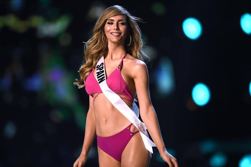 Angela Ponce of Spain in the swimsuit competition during the 2018 Miss Universe pageant in Bangkok on Dec. 13. (Photo: Lillian Suwanrumpha/AFP)