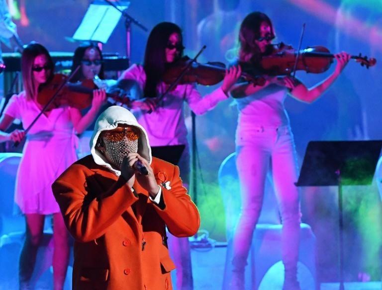 Puerto Rican singer Bad Bunny performs during the 20th Annual Latin Grammy Awards in Las Vegas