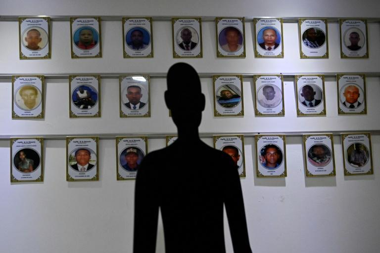 Photos of the missing victims of gangs in Buenaventura in the chapel of memory