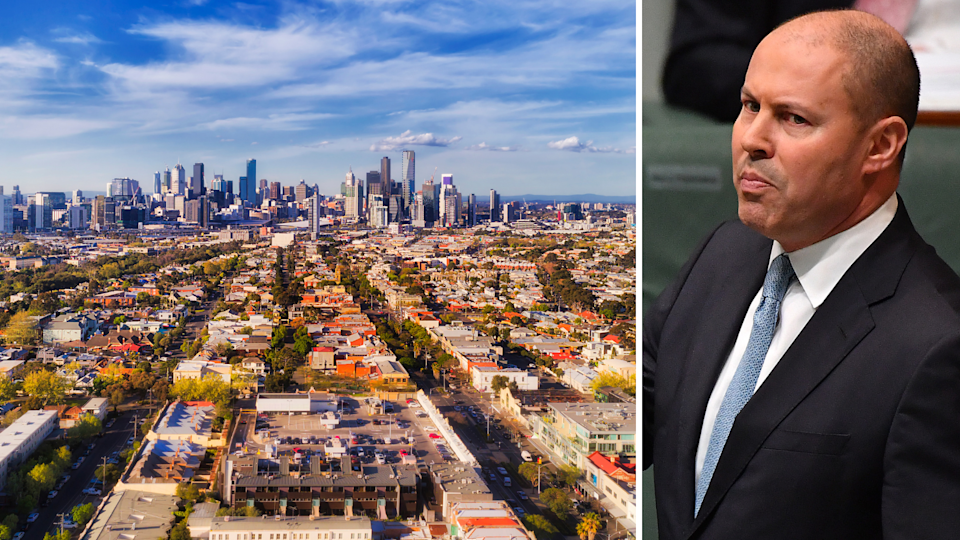 View of Sydney CBD from outer suburbs and Treasurer Josh Frydenberg