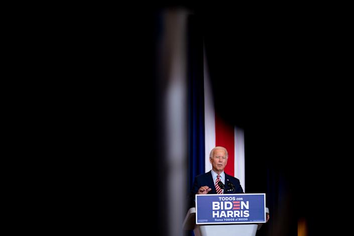 Joe Biden, the Democratic presidential nominee, speaks at a campaign event in Kissimmee, Fla., Sept. 15, 2020. (Erin Schaff/The New York Times)