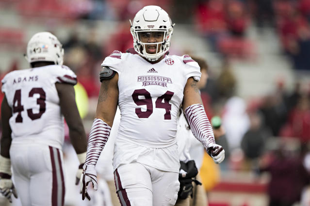 FAYETTEVILLE, AR - NOVEMBER 18: Jeffery Simmons #94 of the Mississippi State Bulldogs walks off the field during a game againstf the Arkansas Razorbacks at Razorback Stadium on November 18, 2017 in Fayetteville, Arkansas. The Bulldogs defeated the Razorbacks 28-21. (Photo by Wesley Hitt/Getty Images)