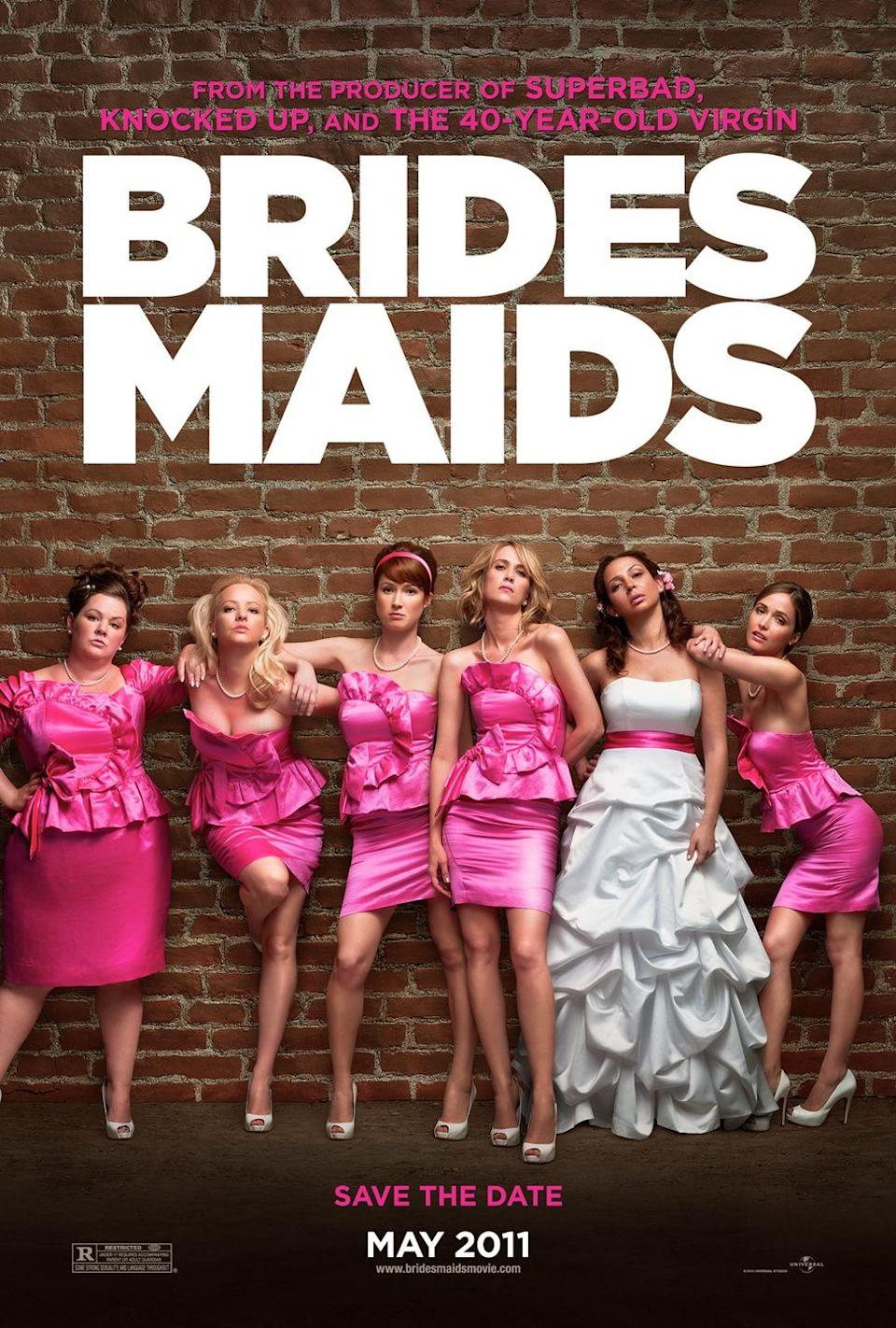 """<p><a class=""""link rapid-noclick-resp"""" href=""""https://www.amazon.com/Bridesmaids-Kristen-Wiig/dp/B005KL3QZ0/?tag=syn-yahoo-20&ascsubtag=%5Bartid%7C10070.g.33373092%5Bsrc%7Cyahoo-us"""" rel=""""nofollow noopener"""" target=""""_blank"""" data-ylk=""""slk:WATCH NOW"""">WATCH NOW</a></p><p>In 2011, <em>Bridesmaids</em> proved what most of the world already knew: that women can act in hilariously goofy buddy comedies just as well as men can. The movie took over the summer of 2011, making Melissa McCarthy a comedy star with its raunchy scenes and ridiculous wedding planning drama. This one is definitely worth a rewatch when you need some belly laughs. </p>"""