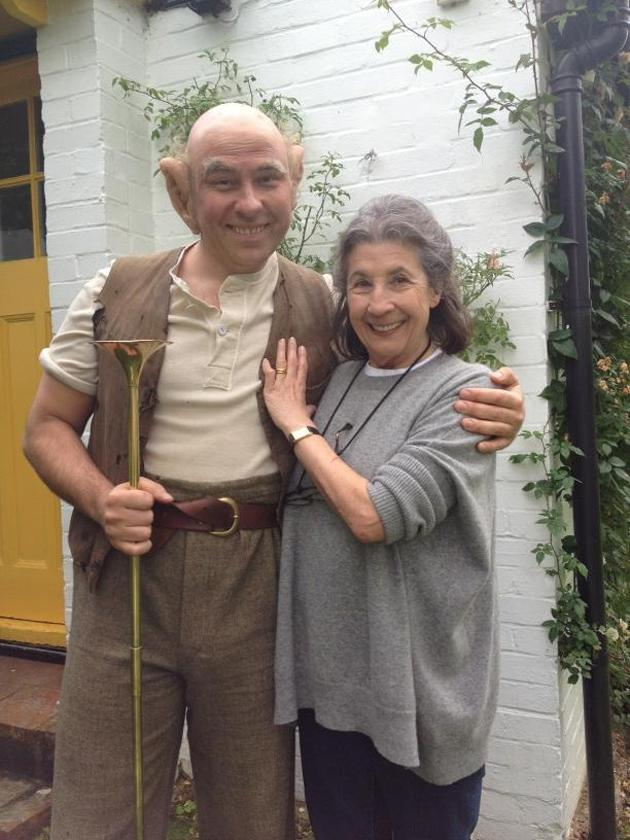 """Celebrity photos: David Walliams was keen to celebrate Roald Dahl's birthday, dressing up as the BFG. He tweeted this picture of himself in character alongside the caption: """"Me as the BFG with Roald's widow, the wonderful Liccy Dahl. Don't forget Dahl dress-up day is September 28th."""""""