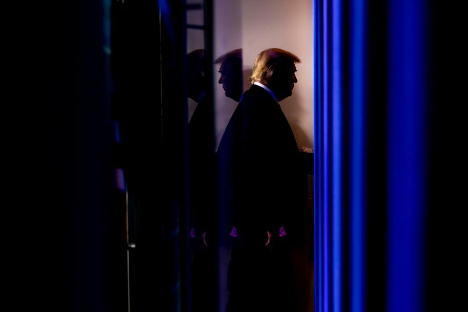 President Donald Trump leaves the White House briefing room in Washington on Friday, Nov. 20, 2020, after speaking to reporters. (Erin Schaff/The New York Times)