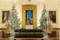 <p>In 1967 an Italian creche (nativity scene) was given to Lady Bird Johnson and it is still put on display each year (shown here in 2019). </p>