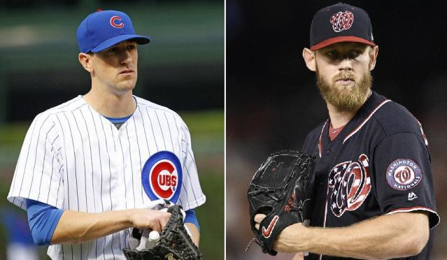 The Game 1 pitching matchup will featured Chicago's Kyle Hendricks versus Washington's Stephen Strasburg. (AP Photos)