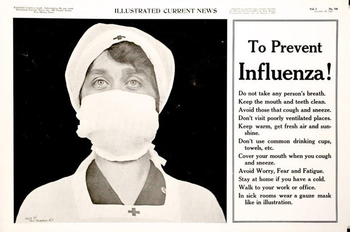 """<span class=""""caption"""">Poster of a Red Cross nurse wearing a gauze mask over her nose and mouth – with tips to prevent the influenza pandemic.</span> <span class=""""attribution""""><a class=""""link rapid-noclick-resp"""" href=""""https://collections.nlm.nih.gov/catalog/nlm:nlmuid-101580385-img"""" rel=""""nofollow noopener"""" target=""""_blank"""" data-ylk=""""slk:The National Library of Medicine/NIH"""">The National Library of Medicine/NIH</a></span>"""