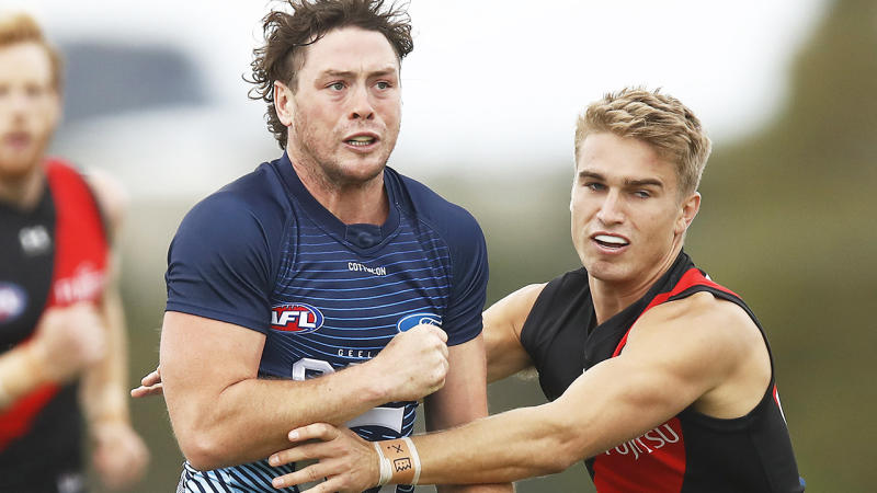 Jack Steven, pictured here in action for Geelong in the Marsh Community Cup in March.