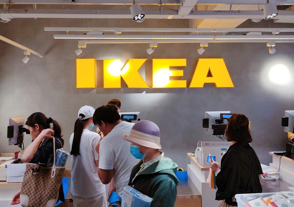 SHANGHAI, CHINA - APRIL 29, 2021 - Customers browse IKEA's new Jing 'an Temple furniture flagship store in Shanghai, China, April 29, 2021. On May 25, 2021, IKEA (China) Investment Co., Ltd. recalled some catering and household products, involving Heroisk Shiroth and Talrika series bowls, plates and cups, with a quantity of more than 170,000 pieces. (Photo credit should read Costfoto/Barcroft Media via Getty Images)