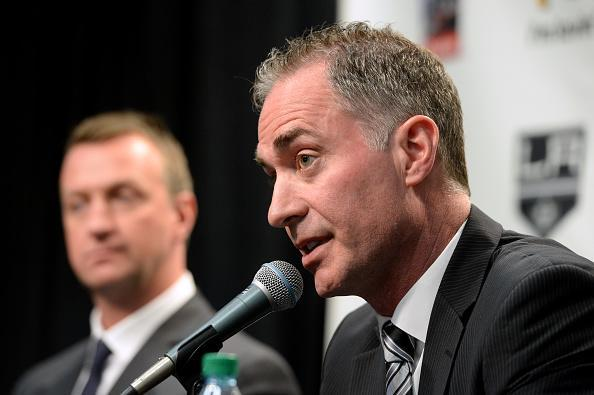 LOS ANGELES, CA - APRIL 24: Los Angeles Kings Head Coach John Stevens addresses the media during a press conference naming him head coach of the team at STAPLES Center on April 24, 2017 in Los Angeles, California. (Photo by Andrew D. Bernstein/NHLI via Getty Images)