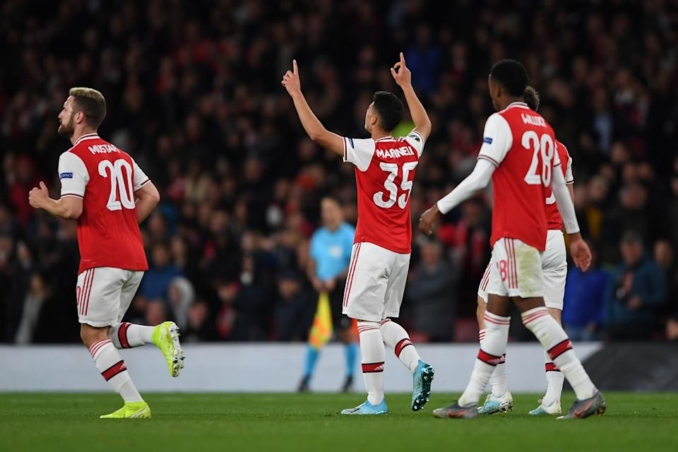LONDON, ENGLAND - OCTOBER 03: Gabriel Martinelli of Arsenal celebrates after scoring his team's second goal during the UEFA Europa League Group F match between Arsenal FC and Standard Liege at Emirates Stadium on October 03, 2019 in London, United Kingdom. (Photo by Harriet Lander/Copa/Getty Images)