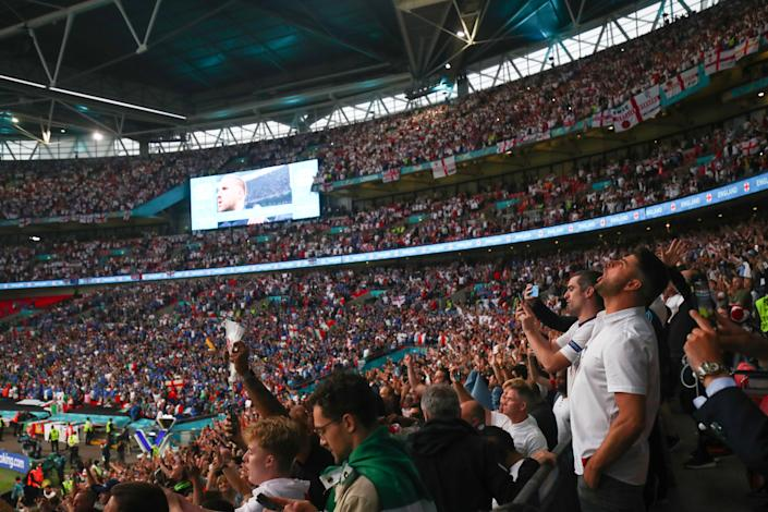 LONDON, ENGLAND - JULY 11:  Enlgna fans look on during the National anthems during the UEFA Euro 2020 Championship Final between Italy and England at Wembley Stadium on July 11, 2021 in London, United Kingdom. (Photo by Marc Atkins/Getty Images)