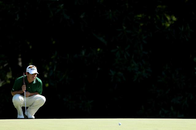 AUGUSTA, GA - APRIL 08: Louis Oosthuizen of South Africa lines up a putt on the fifth hole during the final round of the 2012 Masters Tournament at Augusta National Golf Club on April 8, 2012 in Augusta, Georgia. (Photo by Andrew Redington/Getty Images)