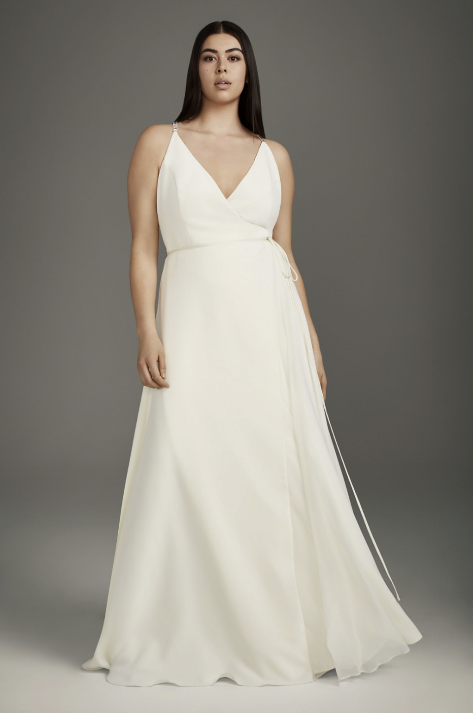 White by Vera Wang Plus Wrap Gown with Jeweled Crisscross Low Back (Photo via David's Bridal)