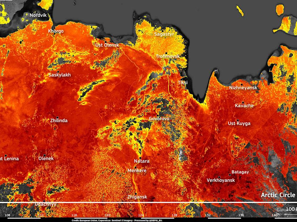 Image taken by the EU's Copernicus Sentinel-3 satellite shows land surface temperatures reaching nearly 50C around the town of Verkhojansk (European Union, Copernicus Sentinel-3 imagery)