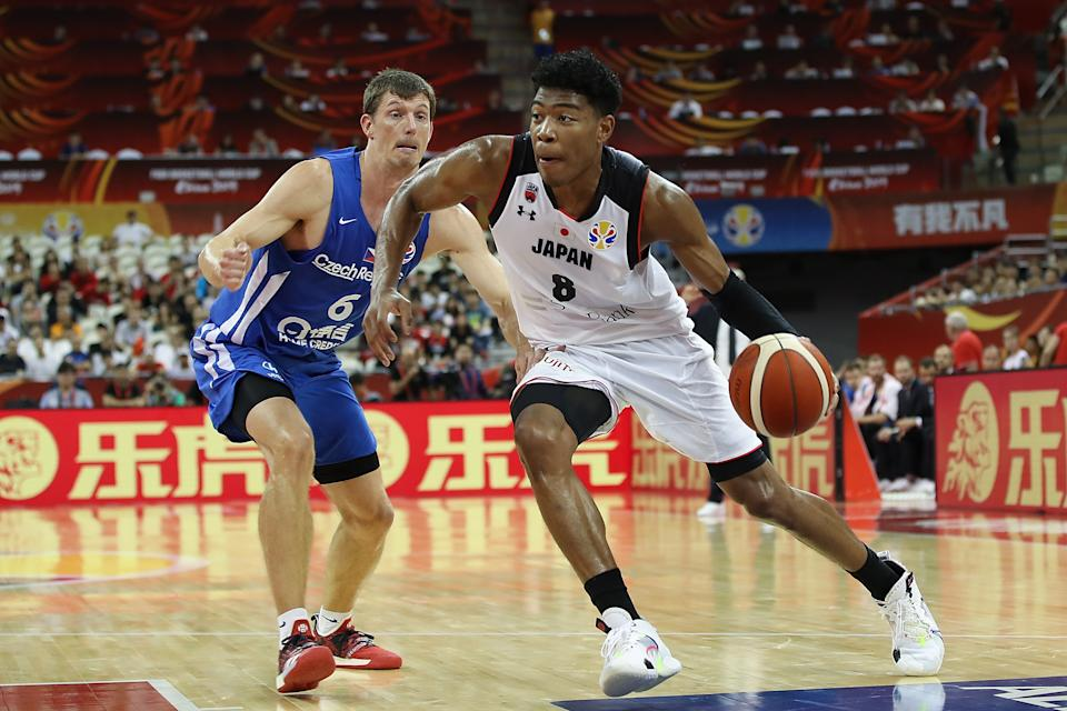SHANGHAI, CHINA - SEPTEMBER 03:  Rui Hachimura #8 of Japan in action against Pavel Pumprla of Czech Republic during the 1st round Group E match between Japan and Czech Republic of 2019 FIBA World Cup at the Oriental Sports Center on September 3, 2019 in Shanghai, China.  (Photo by Lintao Zhang/Getty Images)