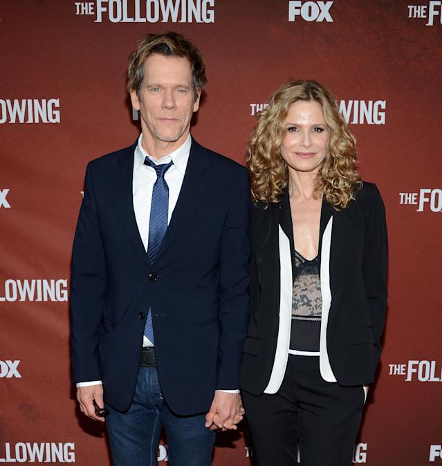 """NORTH HOLLYWOOD, CA - APRIL 29: Actor Kevin Bacon and wife Kyra Sedgwick attend the screening of Fox's """"The Following"""" at Leonard H. Goldenson Theatre on April 29, 2013 in North Hollywood, California. (Photo by Jason Kempin/Getty Images)"""