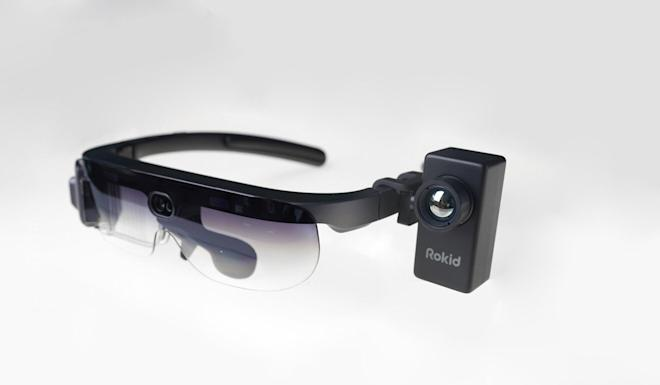 The Rokid Glass 2 with infrared sensor attached for measuring temperature. Photo: Handout