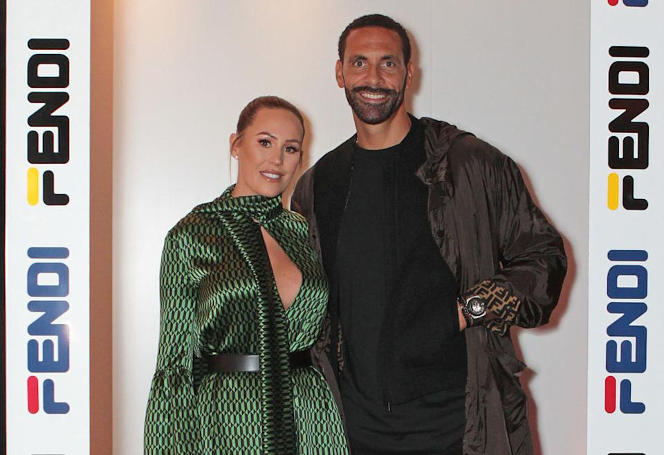 Kate Ferdinand has revealed she has put make-up on for the first time since giving birth, pictured with her husband, Rio Ferdinand in October, 2018 (Getty Images)