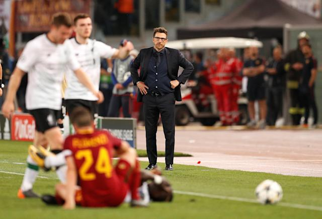 <p>Soccer Football – Champions League Semi Final Second Leg – AS Roma v Liverpool – Stadio Olimpico, Rome, Italy – May 2, 2018 Roma coach Eusebio Di Francesco looks on as Liverpool's Sadio Mane is fouled by Roma's Alessandro Florenzi Action Images via Reuters/John Sibley </p>