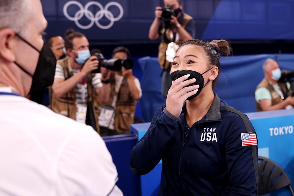 Sunisa Lee now has three medals at these Olympics after her bronze in the uneven bars. (Photo by Laurence Griffiths/Getty Images)