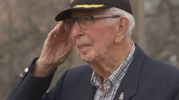 George Olscamp was glad to take part in a flag-raising ceremony in Charlottetown when he was 99.  (Sarah MacMillan/CBC - image credit)