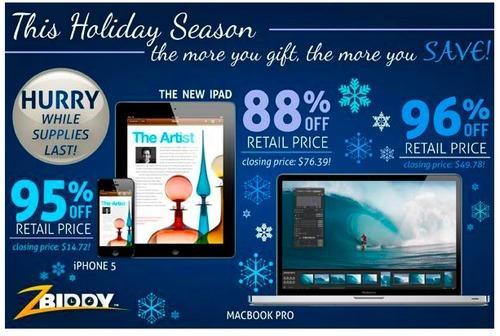 Cyber Monday ad featuring 95% off an iPhone 5
