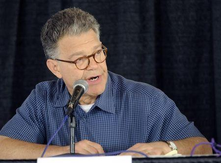 Senator Al Franken answers questions at the U.S. Senate Candidate's Forum at Minnesota Farmfest in Redwood County